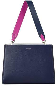 Aspinal of London Large Ella Hobo In Bluemoon Pebble With Orchid Navy Strap