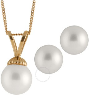 Bella Pearl 14K Gold Sliding Freshwater Pearl Pendant and Earring Set