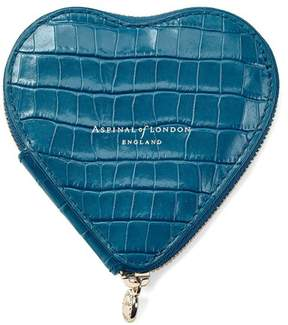 Aspinal of London Heart Coin Purse In Deep Shine Topaz Small Croc