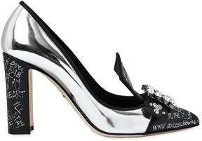 Dolce & Gabbana 90mm Graffiti Mirror Leather Pumps