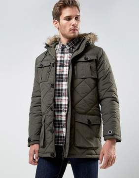Brave Soul Quilted Parka Jacket with Faux Fur Trim Hood