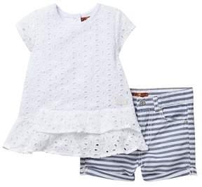 7 For All Mankind Eyelet Top & Stripe Shorts Set (Toddler Girls)