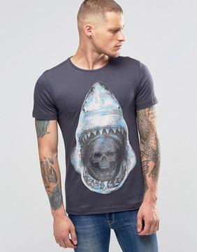 Blend of America Shark Skull Print Slim T-Shirt