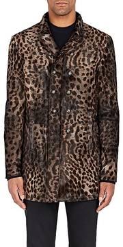 John Varvatos Men's Lynx-Print Calf Hair Double-Breasted Jacket