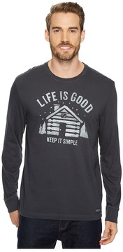 Life is Good Simple Cabin Long Sleeve Crusher Tee Men's Long Sleeve Pullover