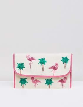 Asos DESIGN straw flamingo clutch bag