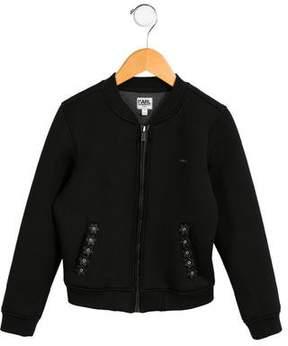 Karl Lagerfeld Girls' Neoprene Bomber Jacket