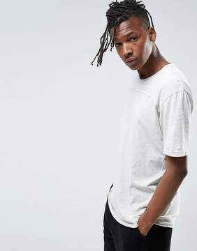 Pull&Bear Longline T-Shirt In Light Gray