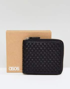 Asos Oversized Leather Zip Around Wallet In All Over Weave Design In Black