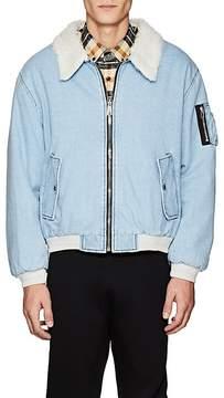 Gosha Rubchinskiy Men's Faux-Fur-Lined Denim Bomber Jacket