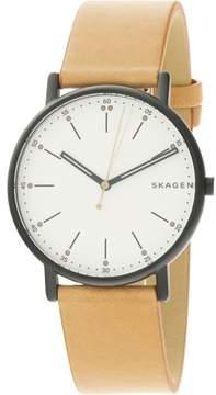 Skagen Men's Signature SKW6352 Black Leather Japanese Quartz Fashion Watch