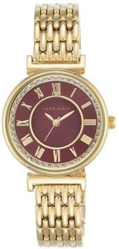 Anne Klein Crystal Goldtone Round Red Dial Pavé Bezel Bracelet Watch