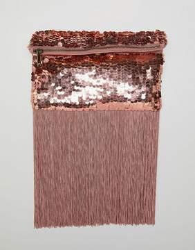 Asos DESIGN pastel sequin fringe clutch bag