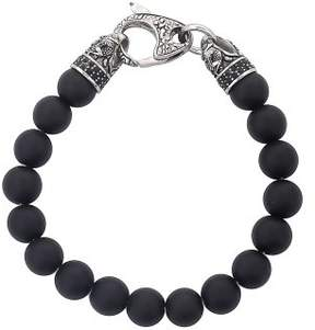 Dragon Optical West Coast Jewelry Crucible Stainless Steel with Matte Black Onyx Beaded Bracelet