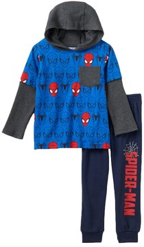 Marvel Toddler Boy Spider-Man Mock-Layered Thermal Pocket Tee & Fleece-Lined Jogger Pants Set