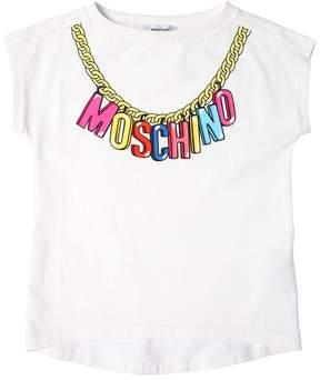 Moschino Logo Chain Print Cotton Jersey T-Shirt