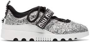 Miu Miu logo glitter lace-up sneakers