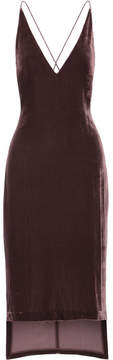 Dion Lee Asymmetric Velvet Midi Dress - Merlot
