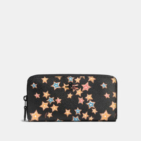 COACH Coach Accordion Zip Wallet With Starlight Print - MATTE BLACK/BLACK MULTI - STYLE