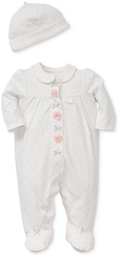 Little Me 2-Pc. Dot-Print Cotton Hat & Footed Coverall Set, Baby Girls (0-24 months)