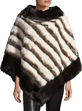 La Fiorentina Stripe Fur Poncho, Brown/White