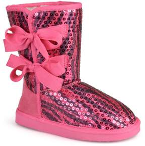 Journee Collection Journee K-Bow Girls' Sequined Bow Boots