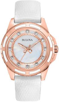 Bulova Women's White Lizard Leather Strap Watch 28mm 98P119