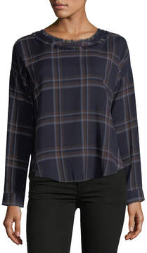 Astr Nore Frayed Plaid Blouse