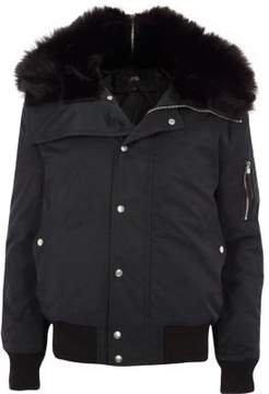River Island Mens Black faux fur trim hooded jacket