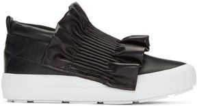 MSGM Black Ruffle Slip-On Sneakers