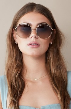 Sonix Women's Oasis 63Mm Round Sunglasses - Gold Wire/ Brown Fade