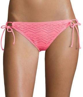 Arizona Mix & Match Art Deco Coral Side-Tie Hipster Swim Bottoms - Juniors