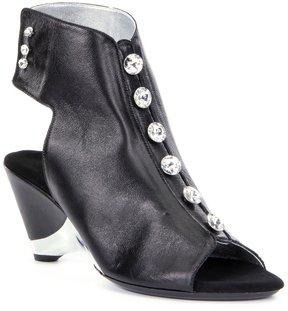 Onex Rock-On-3 Leather Jeweled Peep-Toe Metallic Trim Booties