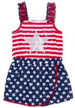Little Lass Toddler Girls' Americana Sequin Star Romper