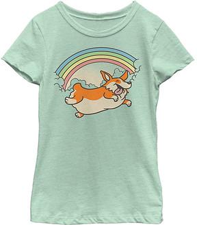 Fifth Sun Mint Corgi Rainbow Jump Crewneck Tee - Girls