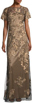 David Meister Flutter-Sleeve Floral-Lace Evening Gown