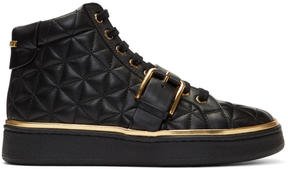 Balmain Black Active Buckle High-Top Sneakers