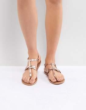 New Look Leather Metallic Twist Toe Post Flat Sandal