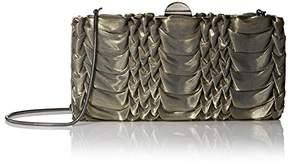 La Regale Women's Metallic Fabric Pleated Frame Minaudiere