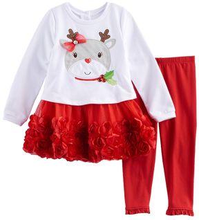 Nannette Baby Girl Reindeer Dress & Leggings Set