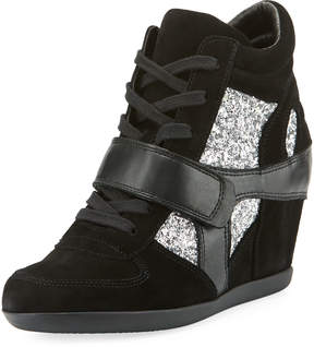Ash Bowie Wedge Sneakers with Glitter Trim
