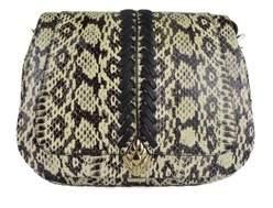 Roberto Cavalli White Black Snake Embossed Saddle Shoulder Bag