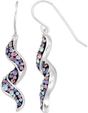 Confetti Silver Plated Crystal Corkscrew Drop Earrings
