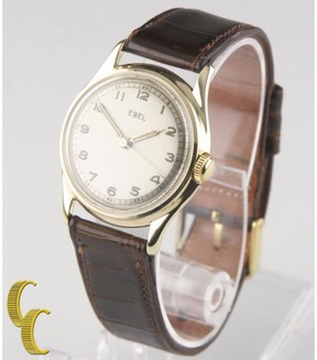 Ebel 510 14K Yellow Gold & Brown Leather Champagne Dial Hand-Winding Vintage 31mm Womens Watch