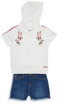 Hudson Little Girl's Two-Piece Embroidered Hoodie and Denim Shorts Set