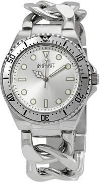 August Steiner Diver Silver-Tone Twist Chain Bracelet Watch