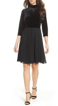 Adrianna Papell Women's Velvet Mock Neck Dress