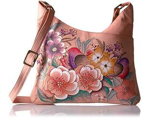 Anuschka Anna by Women's Genuine Leather V Top Multi-Compartment Cross Body | Hand Painted Original Artwork |