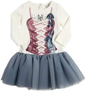 MonnaLisa Corset Print Milano Jersey & Tulle Dress
