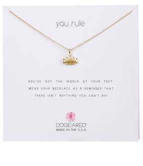 Dogeared 14K Yellow Gold Plated Sterling Silver 'You Rule' Regal Crown Pendant Necklace